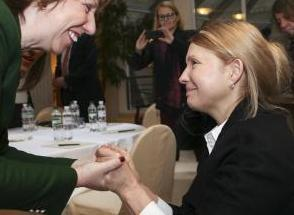 European Union foreign policy chief Ashton greets Ukrainian opposition leader Tymoshenko during their meeting in Kiev