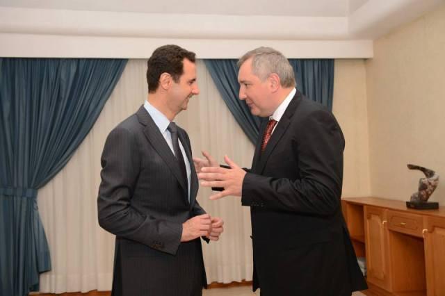 President Bashar al-Assad with Russian Deputy Prime Minister Dmitry Rogozin