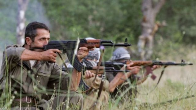 The Kurdistan Workers_s Party -PKK- militants training at a base in northern Iraq